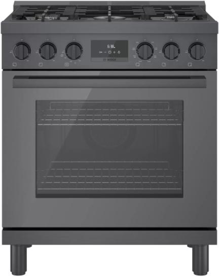 "Bosch 800 Series 30"" Black Stainless Steel Industrial Dual Fuel Range-HDS8045C"