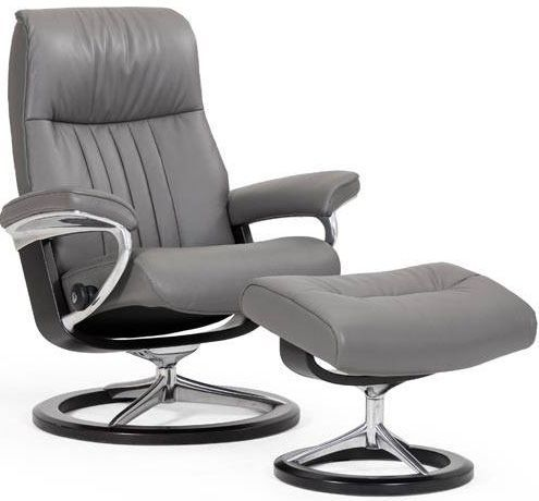 Stressless® by Ekornes® Crown Large Signature Base Chair and Ottoman-1296315