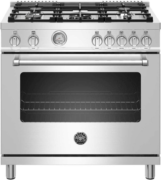 "Bertazzoni Master Series 36"" Stainless Steel Free Standing Gas Range-MAST365GASXE"