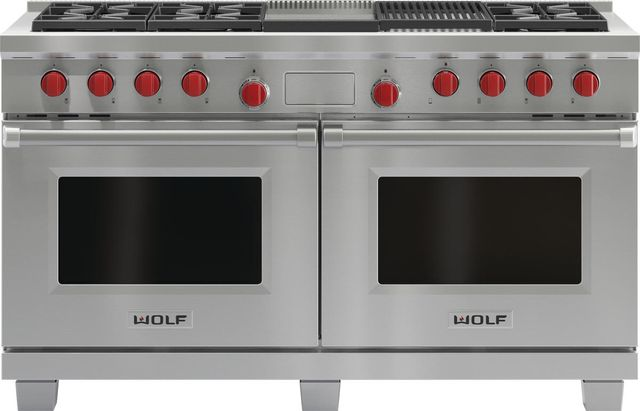 """Wolf® 60"""" Pro Style Dual Fuel Range-Stainless Steel-DF606CG"""