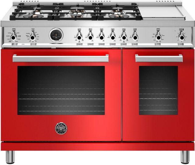 "Bertazzoni Professional Series 48"" Red Pro Style Duel Fuel Range-PROF486GDFSROT"