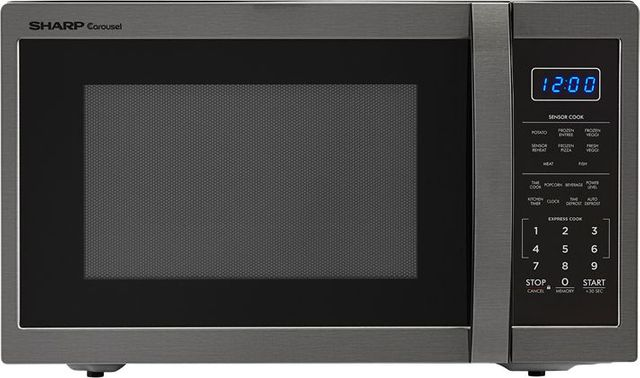 Sharp® Carousel® Countertop Microwave Oven-Black Stainless Steel-SMC1452CH