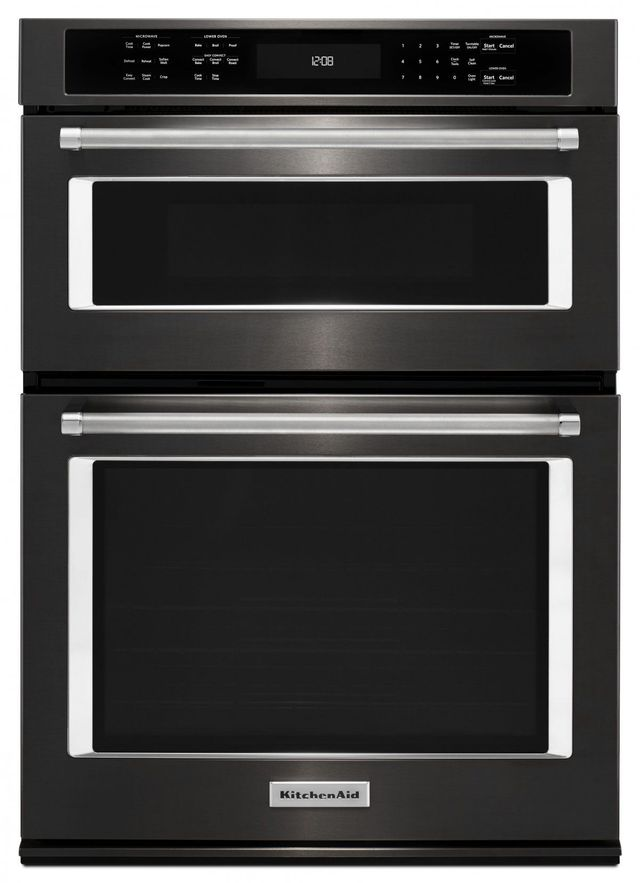 """KitchenAid® 30"""" Black Stainless Steel with PrintShield™ Finish Electric Oven/Microwave Combo Built In-KOCE500EBS"""