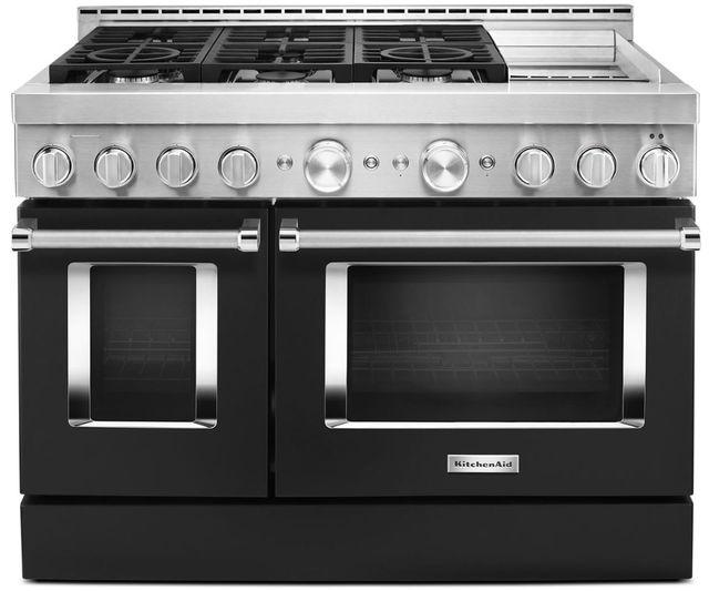 Cuisinière intelligente au gaz style commercial de 48 po KitchenAid® de 6,3 pi³ avec plaque chauffante - Noir impérial-KFGC558JBK