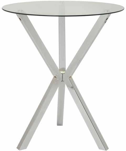 Coaster® Chrome Round Glass Top Bar Table Chrome-100186