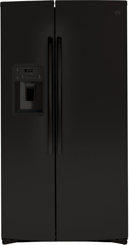 GE® 25.1 Cu. Ft. Black Side-By-Side Refrigerator-GSS25IGNBB