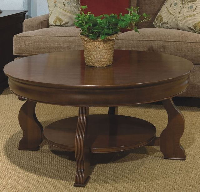 Durham Furniture Solid Accents Candlelight Cherry Louis Philippe Round Cocktail Table-900-561C