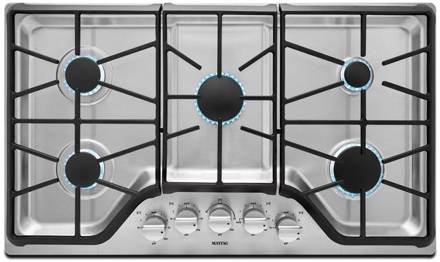 """Maytag® 36"""" Stainless Steel Gas Cooktop-MGC9536DS"""
