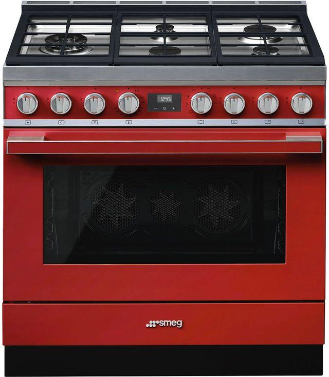 "Smeg 36"" Portofino Pro-Style Dual Fuel Range-Red-CPF36UGMR"