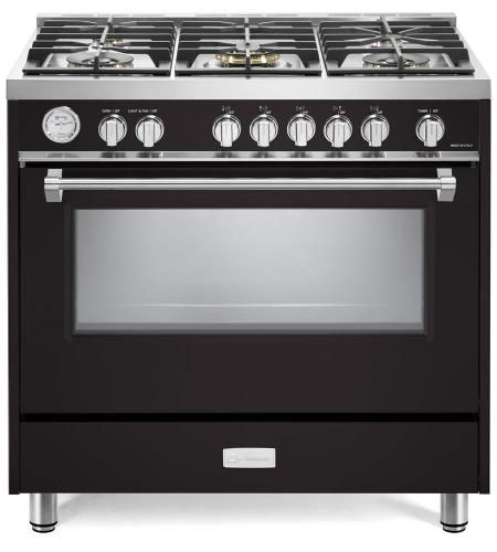 """Verona Designer Series 36"""" Matte Black Free Standing Gas Range-VDFSGG365E"""