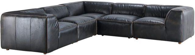 Sectionnel modulaire Luxe en cuir noir Moe's Home Collections®-QN-1025-01
