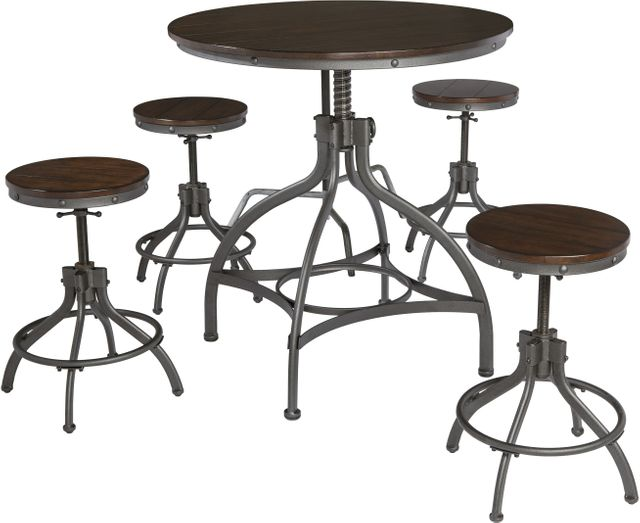 Signature Design by Ashley® Odium Brown 5 Piece Dining Room Counter Table Set-D284-223