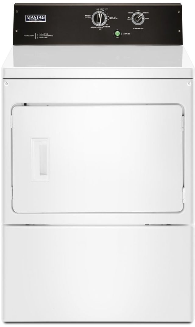 Maytag Commercial® 7.4 Cu. Ft. White Front Load Electric Dryer-MEDP575GW