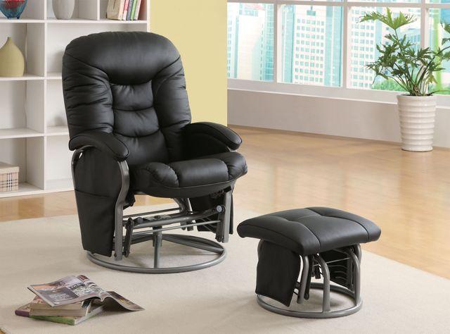 Coaster® 2 Piece Black Swivel Glider Recliner Set-600227