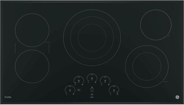 """GE Profile™ Series 36"""" Black Electric Cooktop-PP9036DJBB"""