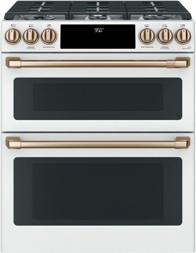 """Café™ 30"""" Matte White Slide In Dual Fuel Range-C2S950P4MW2"""