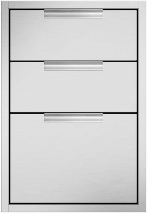 """DCS 20.31"""" Brushed Stainless Steel Tower Drawer Triple-TDT1-20"""