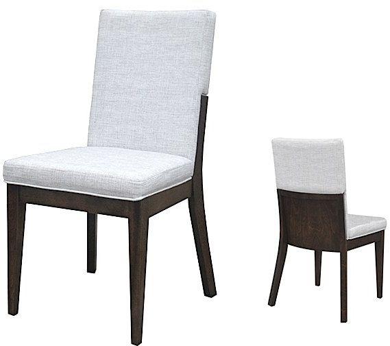 Chaise d'appoint en tissu brun foncé/blanc VieBois®-C-96-D