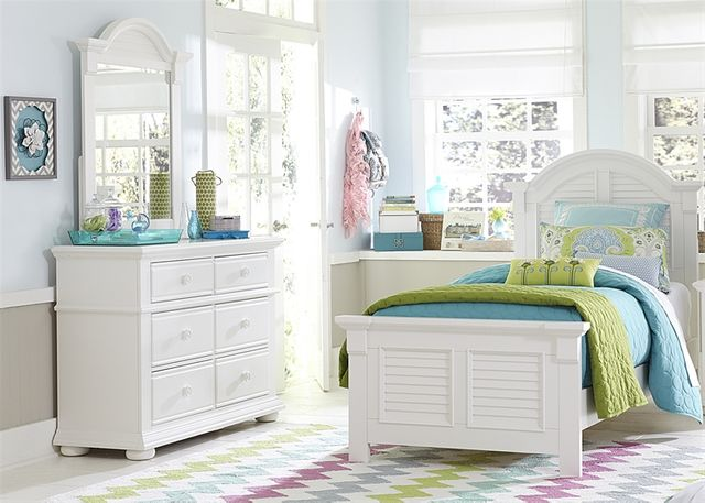 Liberty Furniture Summer House 3 Piece Oyster White Youth Full Bedroom Set-607-BR-FPBDM