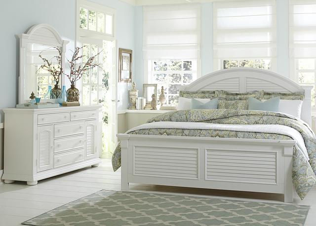 Liberty Summer House l Bedroom King Panel Bed, Dresser and Mirror Collection-607-BR-KPBDM