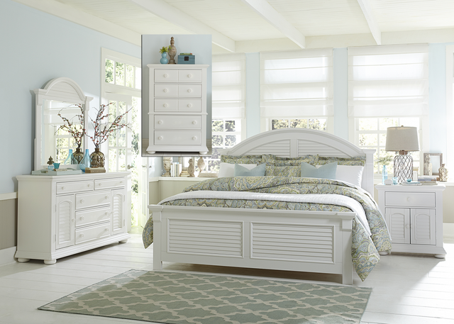 Liberty Summer House l Bedroom King Panel Bed, Dresser, Mirror, Chest and Night Stand Collection-607-BR-KPBDMCN