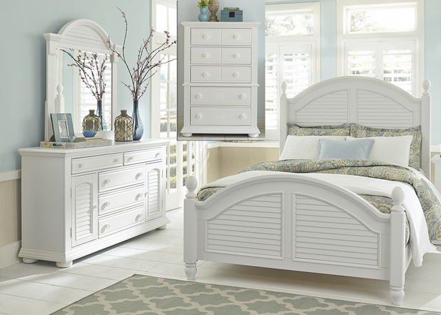 Liberty Summer House l Bedroom King Poster Bed, Dresser, Mirror and Chest Collection-607-BR-KPSDMC