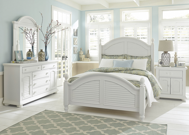 Liberty Summer House l Bedroom King Poster Bed, Dresser, Mirror and Night Stand Collection-607-BR-KPSDMN