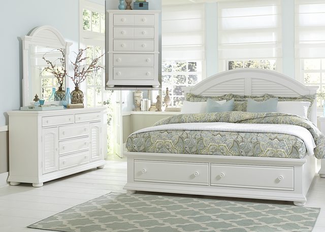 Liberty Summer House l Bedroom King Storage Bed, Dresser, Mirror and Chest Collection-607-BR-KSBDMC