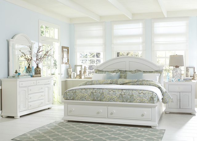 Liberty Summer House l Bedroom King Storage Bed, Dresser, Mirror and Night Stand Collection-607-BR-KSBDMN