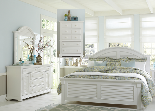 Liberty Furniture Summer House l 4 Piece Oyster White  Bedroom Queen Panel Bedroom Set-607-BR-QPBDMC