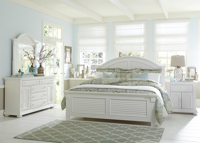 Liberty Furniture Summer House l 4 Piece Oyster White Queen Panel Bedroom Set-607-BR-QPBDMN