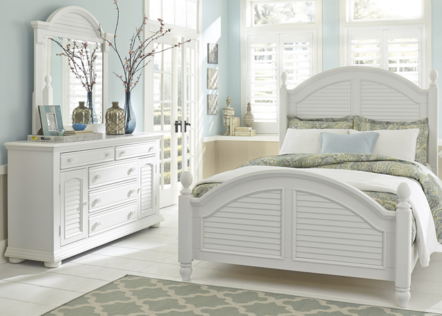 Liberty Furniture Summer House l 3 Piece Oyster White Queen Poster Bedroom Set-607-BR-QPSDM