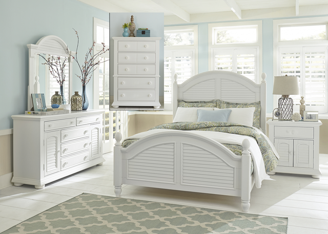 Liberty Furniture Summer House l 5 Piece Oyster White Queen Poster Bedroom Set-607-BR-QPSDMCN