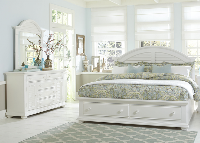 Liberty Furniture Summer House l 3 Piece Oyster White Queen Storage Bedroom Set-607-BR-QSBDM