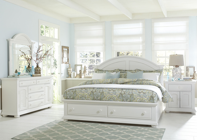 Liberty Furniture Summer House l 4 Piece Oyster White Queen Storage Bedroom Set-607-BR-QSBDMN