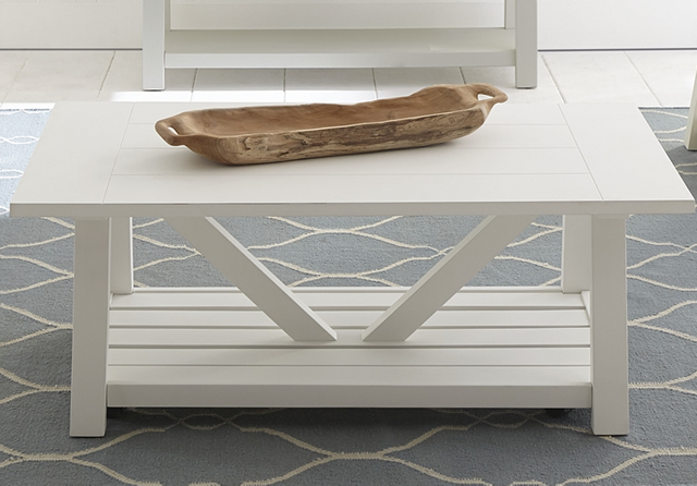 Liberty Furniture Summer House Oyster White Cocktail Table-607-OT1010