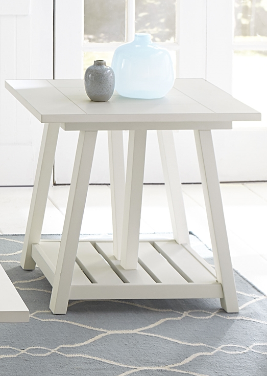 Liberty Furniture Summer House Oyster White End Table-607-OT1020