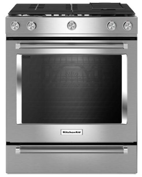 Cuisinière bicombustible encastrée de 30 po KitchenAid® de 7,1 pi³ - Acier inoxydable-YKSDB900ESS