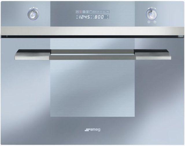 "Smeg Linea 24"" Electric Built In Steam Combination Oven-Fingerprint-Proof Stainless Steel-SCU45VCS1"