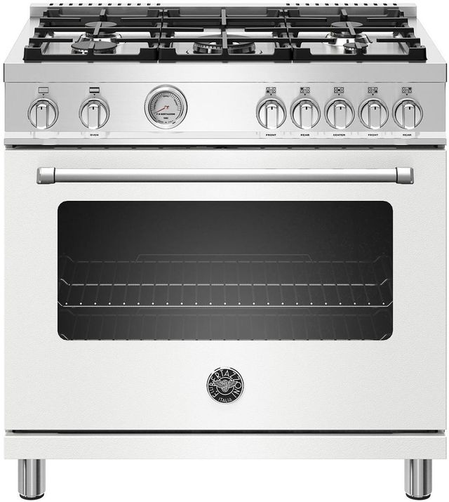 Cuisinière au gaz style Pro Bertazzoni® de 5,9 pi³ de 36 po - Blanc mat-MAST365GASBIE