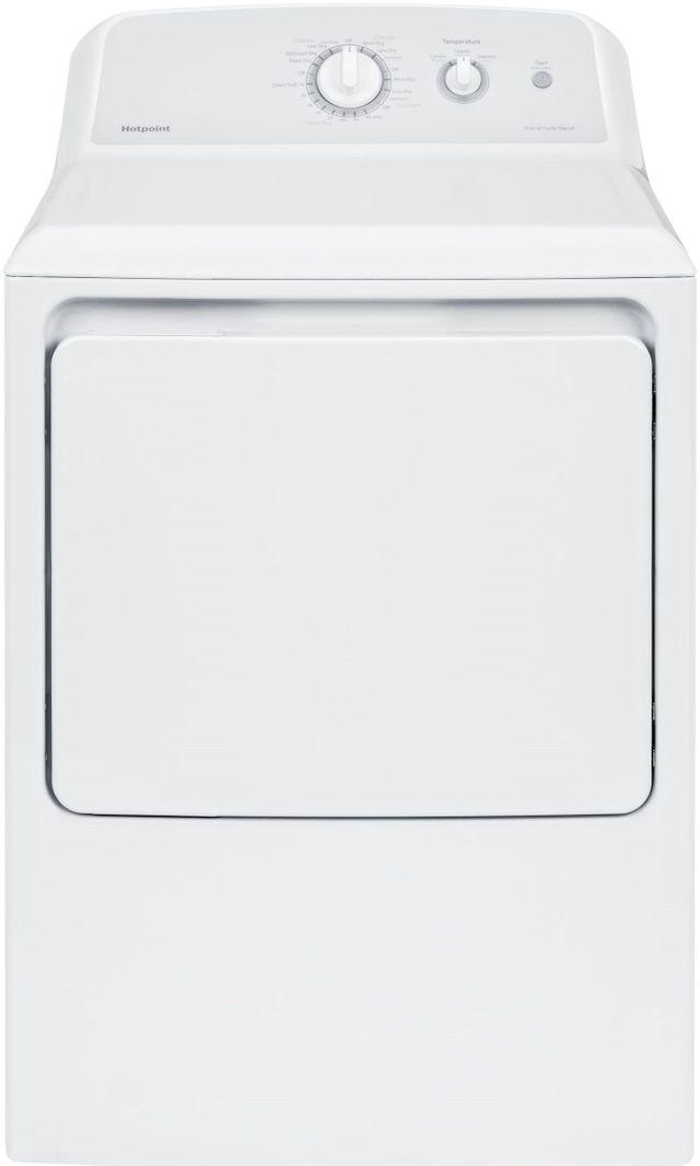 Hotpoint® 6.2 Cu. Ft. White Gas Dryer-HTX24GASKWS