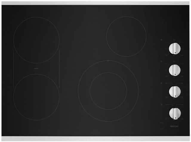 """Maytag® 30"""" Stainless Steel Electric Cooktop-MEC8830HS"""