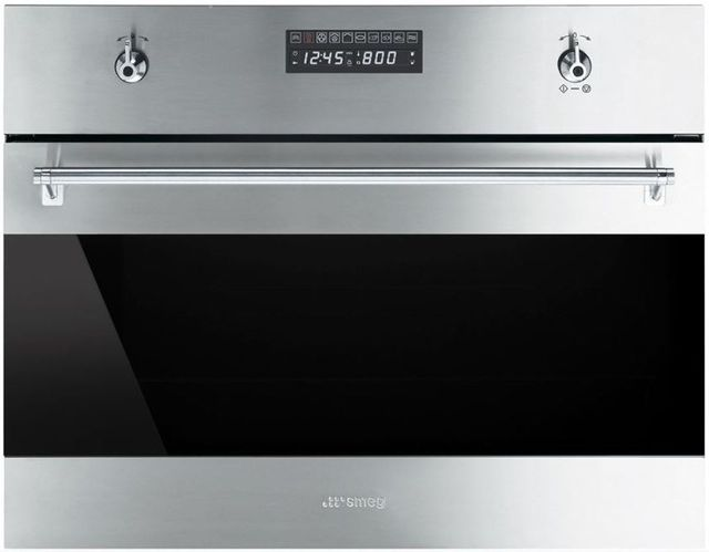 """Smeg Classic 24"""" Electric Built In Steam Combination Oven-Fingerprint-Proof Stainless Steel-SU45VCX1"""