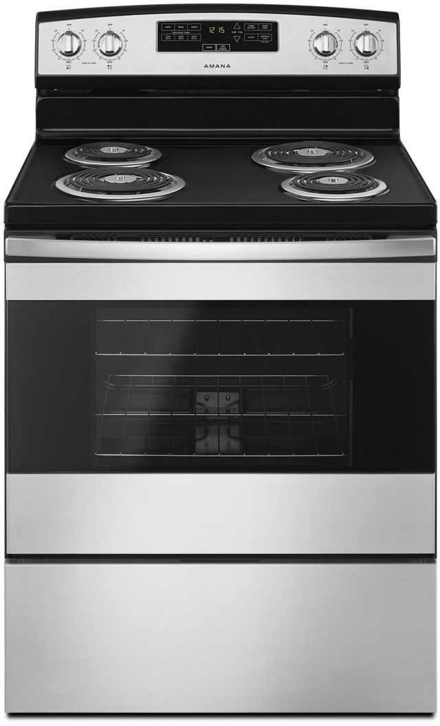"""Amana® 30"""" Black on Stainless Free Standing Electric Range-ACR4303MFS"""