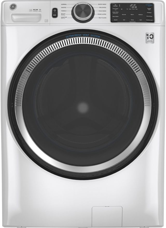 GE® 4.8 Cu. Ft. White Smart Front Load Washer-GFW550SSNWW