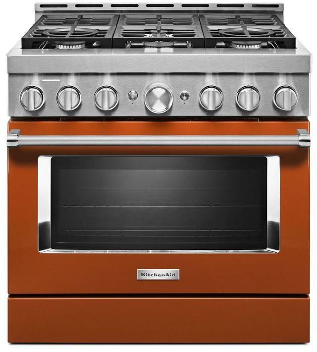 "KitchenAid® 36"" Scorched Orange Smart Commercial-Style Gas Range-KFGC506JSC"