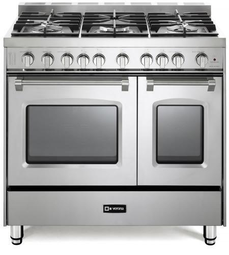 "Verona Prestige Series 36"" Stainless Steel Free Standing Double Gas Range-VPFSGG365DSS"