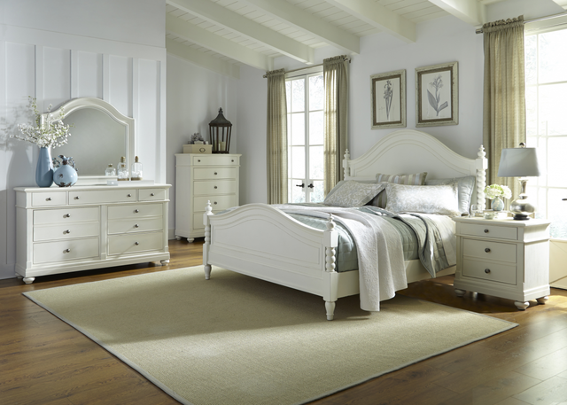 Liberty Harbor View ll Bedroom King Poster Bed, Dresser, Mirror and Night Stand Collection-631-BR-KPSDMN