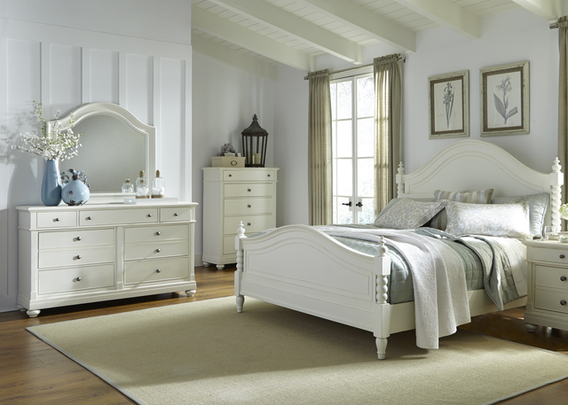 Liberty Harbor View ll Bedroom Queen Poster Bed, Dresser and Mirror Collection-631-BR-QPSDM