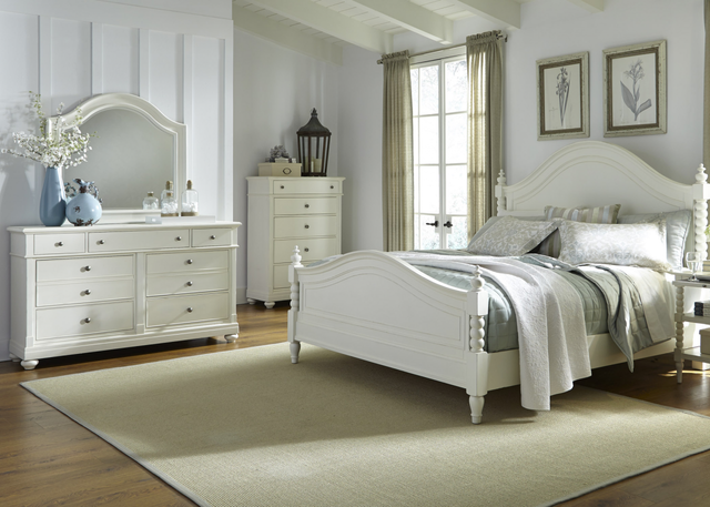 Liberty Harbor View ll Bedroom Queen Poster Bed, Dresser, Mirror and Chest Collection-631-BR-QPSDMC